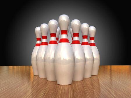 bowling strike: bowling pins