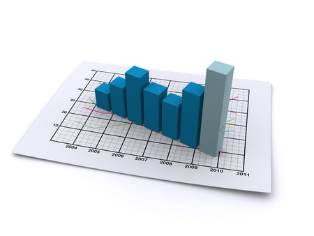 financial report: business graph 3d