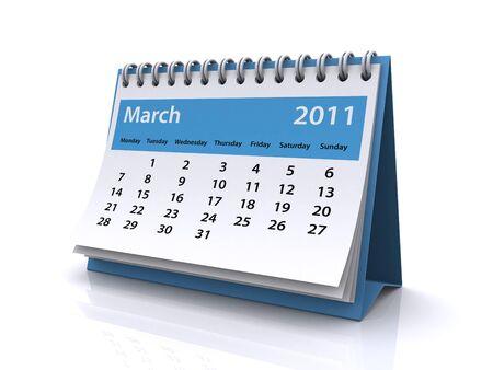 März 2011-Kalender Lizenzfreie Bilder