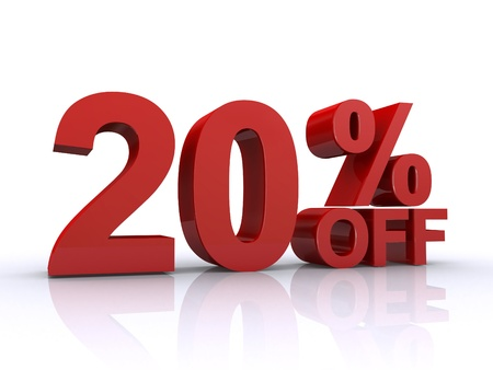 percentage sign: 20 percent off discount Stock Photo