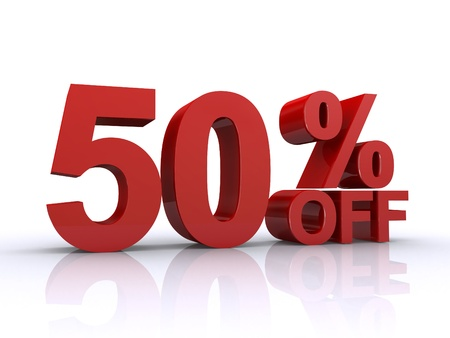 percentage sign: 50 percent off discount Stock Photo