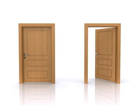 open and closed doors  Standard-Bild
