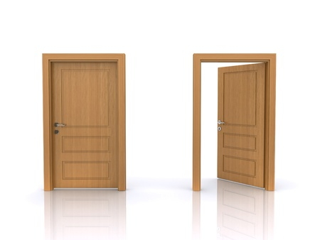 open and closed doors  Stock Photo