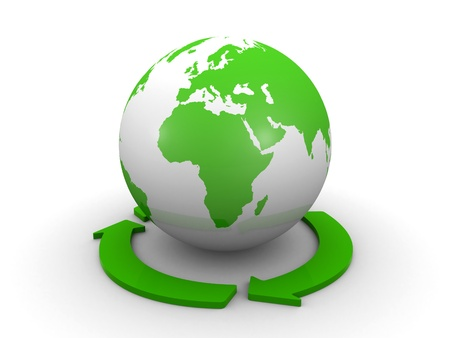world globe and a recycle symbol photo