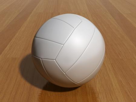 ballon volley: ballon de volley blanc sur le plancher en bois