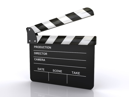 film crew: movie clapper board