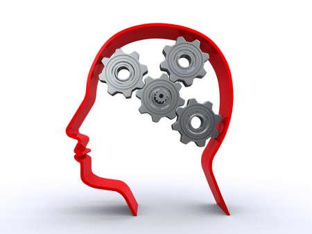 thinking machine: human head with gears Stock Photo