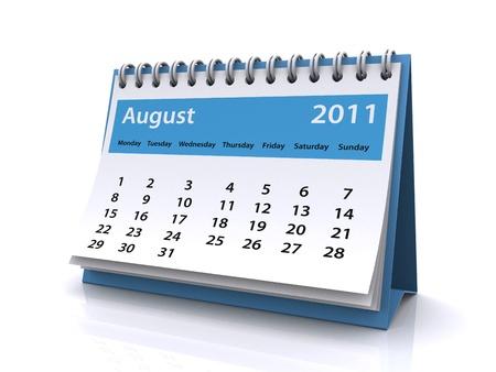 august 2011 calendar  Standard-Bild