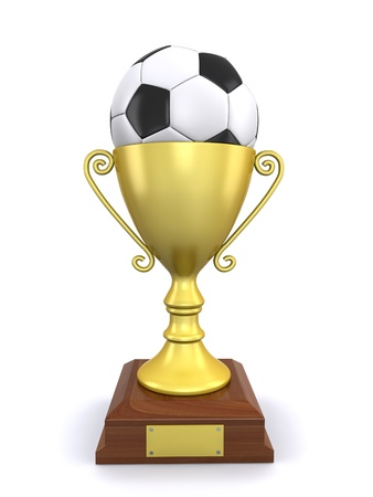 trophy and a soccer ball Stock Photo