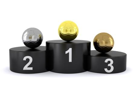soccer balls on the winner Stock Photo - 10179099