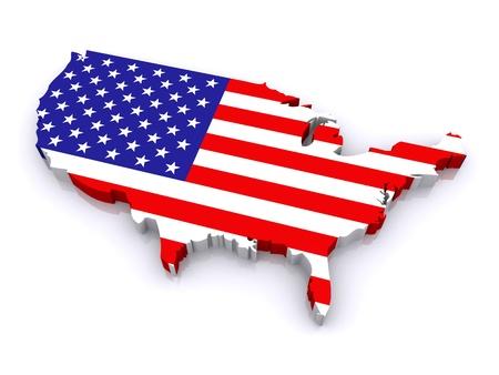 bandiera stati uniti: 3d mappa degli Stati Uniti