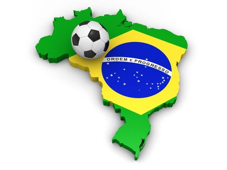 brazil symbol: 3d map of Brazil with a soccer ball