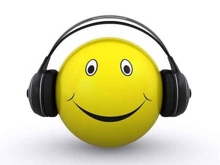 happy smiley with headphones photo