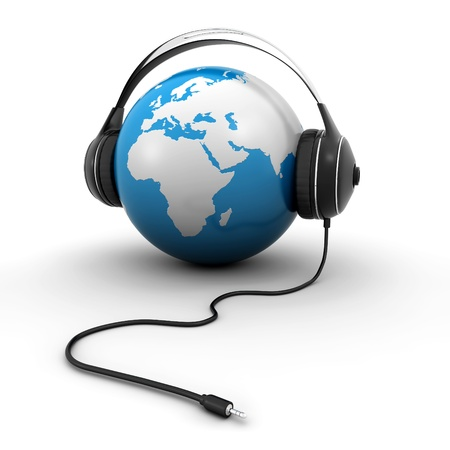 world globe with headphones photo