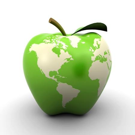 planeta verde: la tierra de manzana Foto de archivo