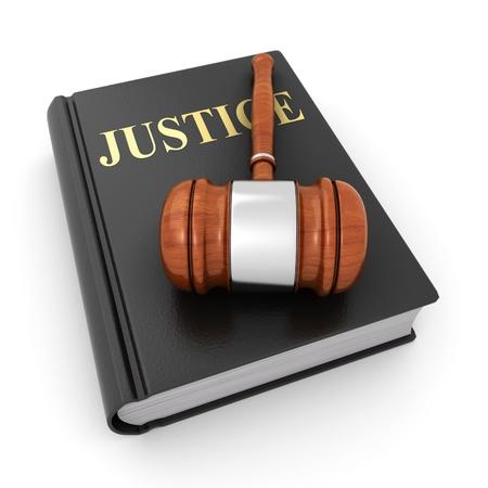 justiz: Gerechtigkeit Buch und ein Hammer Lizenzfreie Bilder