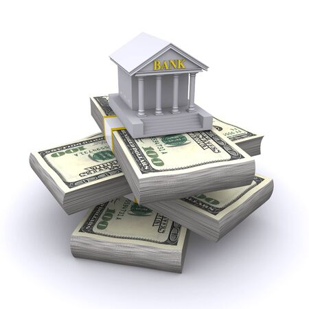 bank building: bank building on a pile of dollar bills Stock Photo