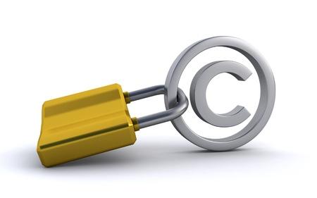 copyright sign and padlock