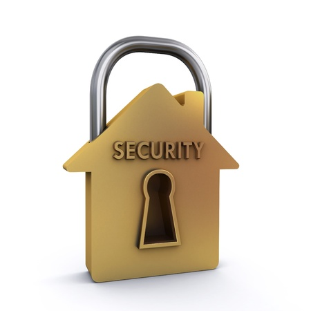 building safety: house padlock Stock Photo