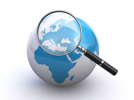 find glass: world globe and a magnifying glass Stock Photo
