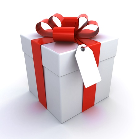 birthday present: gift box with a price tag