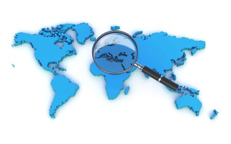 world map and a magnifying glass Stock Photo
