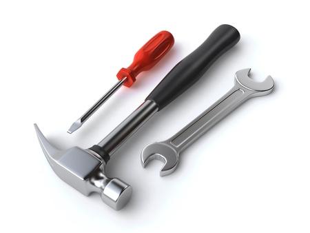 Hammer, Schraubenschlüssel und Schraubendreher