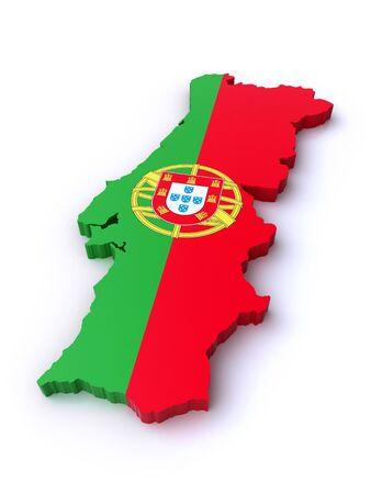 drapeau portugal: 3d carte du Portugal
