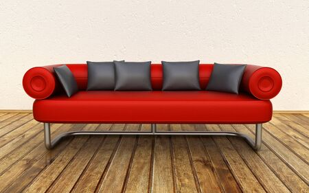 red couch: red leather sofa Stock Photo
