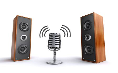 stereo subwoofer: microphone and speakers Stock Photo