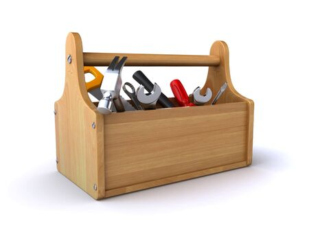 toolbox: wooden toolbox Stock Photo
