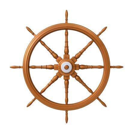 3d sail boat: ship steering wheel