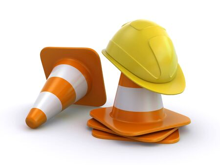 construction helmet and traffic cones photo