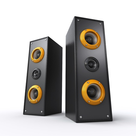 stereo subwoofer: powerful black speakers