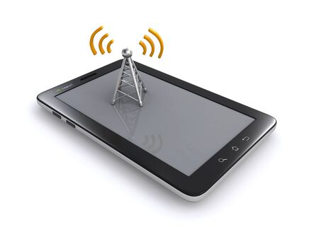 pc tablet and wireless antenna photo