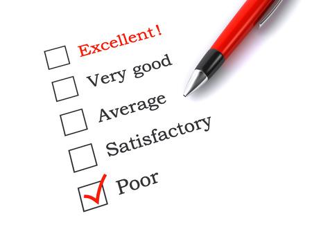 evaluacion: formulario de evaluación con la pluma Foto de archivo