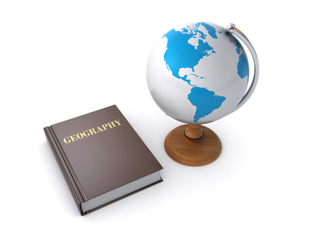 human geography: geography book and desktop globe