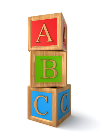 literate: abc cubes Stock Photo