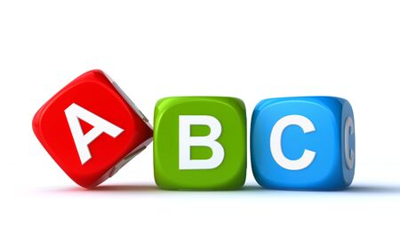 literacy: abc cubes Stock Photo