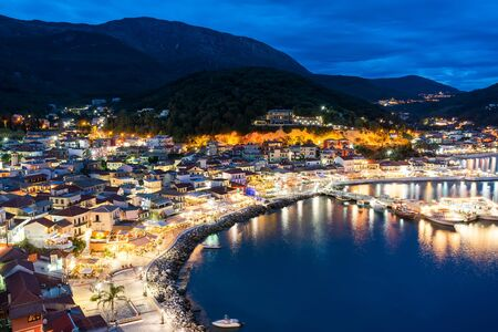 Panoramic night view of Parga city in Greece