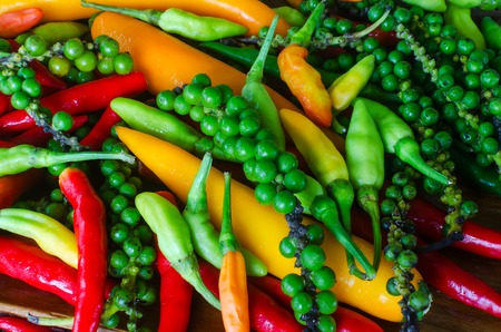 freshest: Colorful mix of the freshest and hottest chili peppers on wooden plate