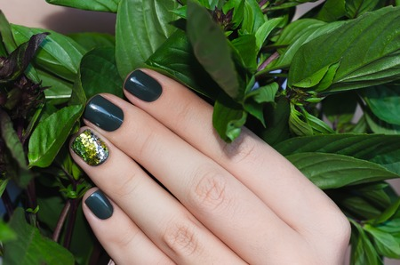 red nail colour: Basil in female hand with beautiful dark green nail design