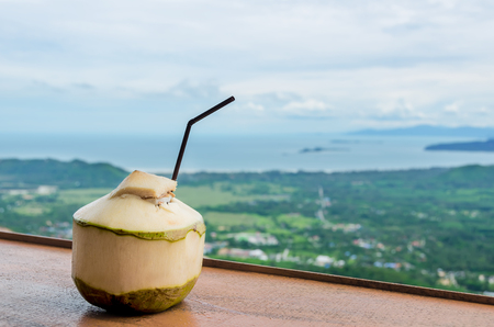 seaview: Fresh Coconut Water Drink in cafe with seaview
