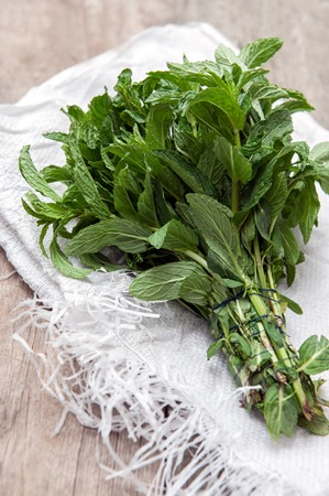 herbalism: A beam of fresh mint on a wooden table. Close up photo. Stock Photo