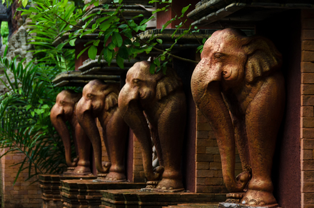 Elephant statues in Samui Cultural Center. Thailand.