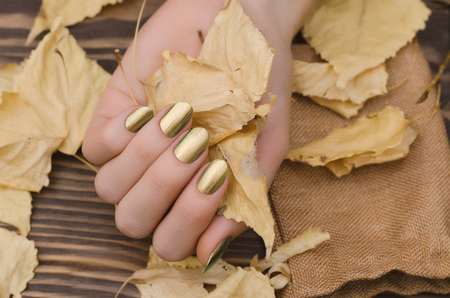 Female hands with gold chameleon nail design holding fallen leaves. Фото со стока