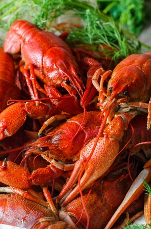 Boiled crawfish with dill in wooden dish.