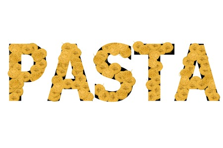 Word Pasta created from assortment of pasta on white background