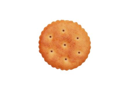 Close up of round cracker on white background