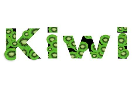 Word Kiwi created from assortment of kiwi slice on white background Reklamní fotografie